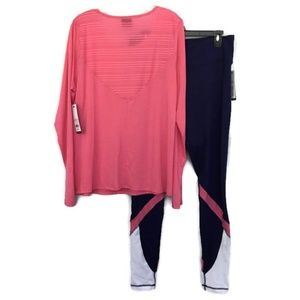 Women Zelos 1X Athletic Pant 0X L/S Top Navy Pink